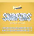 surfers vintage 3d summer alphabet vector image vector image