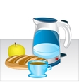 Teapot and products on table vector image