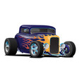 vintage hot rod car with classic flames vector image vector image