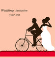 wedding card with a bicycle couple in love vector image vector image