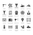 welding services flat glyph icons rolled metal vector image