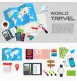 world travel card on table poster vector image vector image