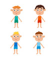 young european boys body template - front vector image