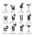 Monochromic drinks icons set vector image