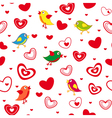Seamless pattern with hearts and birds vector image