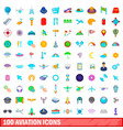 100 aviation icons set cartoon style vector image vector image