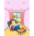 a fat young man in front a table full foods vector image vector image