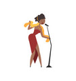 african american female soul singer in red dress vector image vector image
