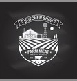 butcher shop badge or label with cow beef farm vector image vector image