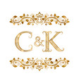 c and k vintage initials logo symbol letters c vector image