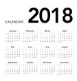 calendar 2018 week starts from sunday vector image vector image