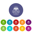 castle rock icons set color vector image vector image
