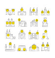 castles and bastions line icons vector image vector image