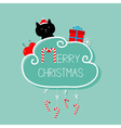 Cat in Santa hat giftbox snowflake ball Merry vector image