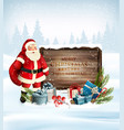 christmas holiday background with santa claus vector image