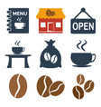 coffee shop icons set on white background vector image