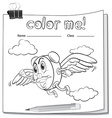 Coloring worksheet with a clock and a pencil vector image vector image