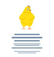 cute easter chicken cartoon with text vector image vector image