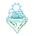 degraded line family mouse animal in float island vector image vector image
