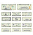 Dollars banknote set cartoon us currency