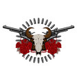 emblem with two old revolvers skull and roses vector image