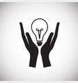 energy saving hands bulb on white background vector image