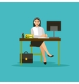 Female operator in call center concept vector image vector image