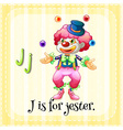 Flashcard letter J is for jester vector image vector image
