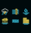 flood icons set neon vector image vector image