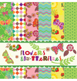 flowers and butterflies pattern vector image vector image