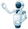 funny white robot one hand up vector image