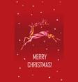 geometric polygonal deer merry christmas greeting vector image