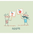 girl and boy holding posters with apples vector image vector image