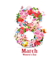 Greeting card with March vector image vector image
