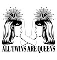 hand drawn twins isolated vector image vector image