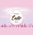 happy easter background easter egg with rabbits vector image