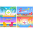 hello summer 2018 tropical promotional posters set vector image vector image