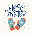 hello winter card vector image