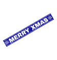 merry xmas grunge rectangle stamp seal with vector image vector image