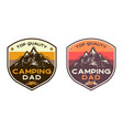 mountain camping badges with quote top quality vector image vector image