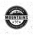 mountains round badge isolated on white vector image