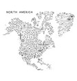 North america travel line icons map travel poster