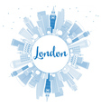 Outline London Skyline with Blue Buildings vector image vector image