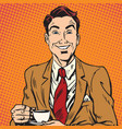 printavatar portrait man drinking coffee vector image