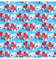 Seamless pattern with swallows and hearts on sky vector image