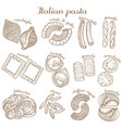 set of different pasta shape vector image vector image