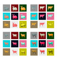 set of in flat style rabbit cow goat sheep vector image