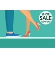 Shoe sale now shopping banner with human legs vector image vector image