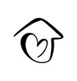 simple calligraphy house with heart real vector image vector image