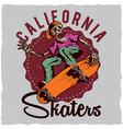 skateboard t-shirt label design vector image vector image